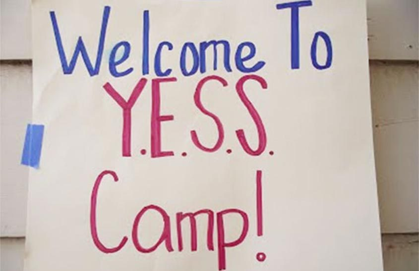 "informal sign, ""Welcome to YESS Camp!"""