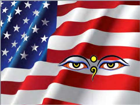 American flag with Buddhist eyes overlay